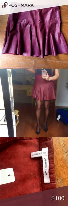 Flash sale 🍒Authentic Derek Lam skirt 100% leather, burgundy color ♥️❤️ will fit on S-M Derek Lam Skirts Mini
