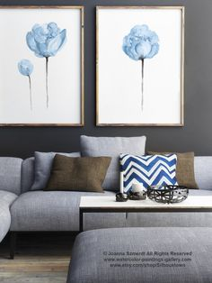 Baby Blue Nursery Room Decor Abstract Peony Flowers @Etsy #peony #babyblue #nurseryart #babyboy #boysnursery #flower