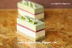 pistachio white chocolate mousse with vanilla mousse, red berry jelly and pistachio sponge Creative Desserts, Fancy Desserts, Entremet Recipe, Vanilla Mousse, White Chocolate Mousse, Different Cakes, Mouse Cake, French Pastries, Savoury Cake