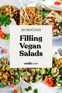 Say no to sad salads! These 20 filing salad recipes will keep you satisfied, they're all full of fresh flavors and plant-based protein. Healthy and delicious! recipes chicken recipes crockpot recipes easy recipes for dinner recipes healthy food recipes Healthy Salad Recipes, Healthy Snacks, Vegetarian Recipes, Healthy Eating, Beef Recipes, Vegetarian Salad, Jar Recipes, Kitchen Recipes, Curry Pasta Salad