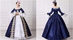 Amazon.com: ROLECOS Womens Royal Vintage Medieval Dresses Lady Satin Gothic Victorian Dress Fancy Masquerade Dress Blue 4: Clothing