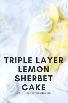 Triple Layer Lemon Sherbet Cake