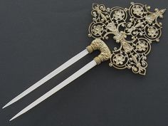 Antique Gilt Metal Floral Filigree Mother of Pearl Hair Comb Hair Pin C 1890 | eBay