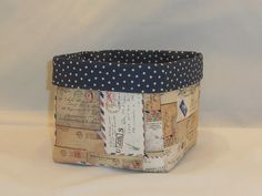 Vintage Mail Themed Fabric Basket For Storage Or Gift Giving