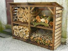 Nice storage for firewood at fire-pit