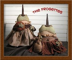 PatternMart.com ::. PatternMart: The Frogettes.....Primitive Frog/Witch Pattern