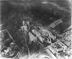 Aerial view of Royal Victoria Hospital, Montreal, QC, about 1925 Quebec Montreal, Montreal Canada, Aerial View, Old Photos, Images, Hui, Industrial, Twitter, Vintage