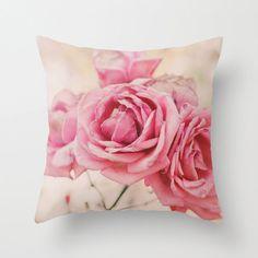 Pillow Cover, Pink Pillow, Throw Pillow, Pink Roses, Living-Room Pillow, 16x16 Pillow Decorative, Home Pastel Decor, Feminine - Wonderland