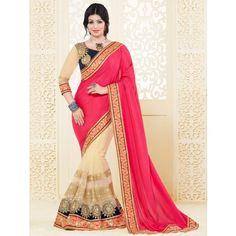 Ayesha Takia Chiffon & Net Zari Work Pink & Cream Half & Half Saree - 1009