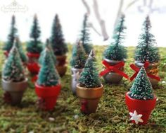 medium miniature sisal tree in a decorative snowflake planter pot bottle brush trees christmas village minis fairy garden accessories