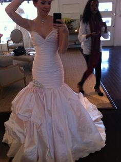 My Dress Arrived!!!!  Lots photos from my first fitting! :  wedding blush wedding gown dress ines di santo mermaid wedding gown pink silver IMG 3879