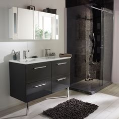 Meuble de salle de bains Seton 120 cm gris anthracite (Castorama) Bathroom Inspiration, Bathroom Vanity, Small Bathroom Inspiration, Shower Bath, Small Bathroom, Desk Wall Unit, Ikea Diy, Bedroom Design, Wall Unit
