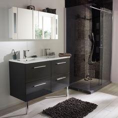 Meuble de salle de bains Seton 120 cm gris anthracite (Castorama)