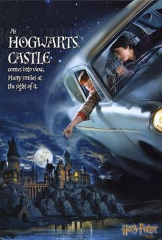 """11x17 Inch Harry Potter and the Chamber of Secrets poster features Harry Potter and Ron Weasley in the flying car with Hogwarts School of Witchcraft and Wizardry in the background with the caption """"AS HOGWARTS CASTLE comes into view, Harry smiles at the sight of it."""" Get it now at http://harrypottermovieposters.com/product/harry-potter-and-the-chamber-of-secrets-movie-poster-style-e-11x17-inch/"""
