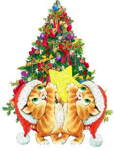 Grote kerstanimatie van een kerstboom - Twee katjes met kerstmutsen houden een gele ster vast voor de kerstboom