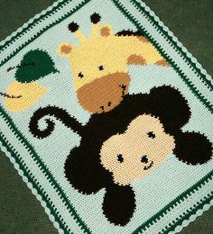 "Crochet Patterns - MONKEY & GIRAFFE BABY AFGHAN PATTERN   Perhaps baby ""Jordan"" needs something like this???"