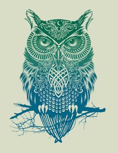 owl color gradient #Tribal #Turquesa