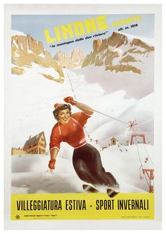 1955 Limone Piemonte Ski Resort, Italy vintage sport/travel poster