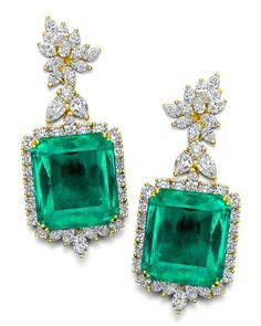 Rose Diamond and Emerald Earrings Emerald Earrings, Emerald Jewelry, Small Earrings, Gems Jewelry, Stone Earrings, Pearl Jewelry, Diamond Jewelry, Jewelry Box, Fine Jewelry