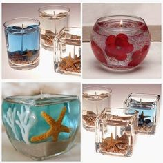 Vela em Gel - Artesanato na Prática                                                                                                                                                                                 Mais Gel Candles, Mason Jar Candles, Homemade Stuff To Sell, E Craft, Candle Art, Candle Maker, Mermaid Baby Showers, Jar Lanterns, Beautiful Candles