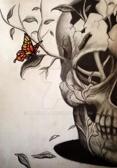 A few weeks ago I asked if someone could give me ideas and suggested a skull with butterflies. This is what I came up with Took me about 3 hours and I used graphite pencils and some crayons.