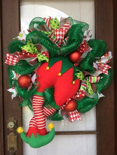 Whimsical elf deco mesh holiday wreath by AnnesAdoorables on Etsy