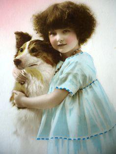 Antique dog postcard  Litlle girl child art deco by LizKnijnenburg