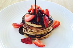 Chocolate Chip Strawberry Pancakes - The Fit Foodie