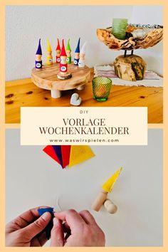 So bastelst du diesen wunderschönen Waldorf Kalender mit deinem Kind selber. Tetra Pack, Diy For Kids, Kindergarten, German, Baby, Weekly Calendar, Diy Games, Wrapping, Ideas For Gifts
