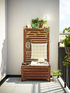 Furnish Your Deck With Ikea, and You Might Relocate Outdoors This Summer Applaro storage bench ($69.99), wall panel ($39) and shelf ($9.99).