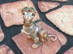 Handmade ooak Polymer clay Steampunk Corgi Dog
