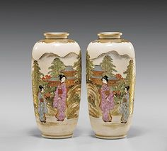"""PAIR JAPANESE SATSUMA VASES Pair of Japanese Satsuma pottery vases; each of footed ovoid form, with mirror-image scenes painted in gilt and enamels with beauty and attendant in a landscape with a temple and pine trees in the distance; Hakuzan marks; H: 6"""" (each)"""