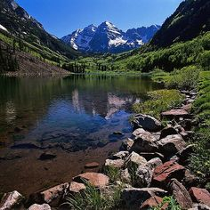 Maroon Bells in June --  Maroon Bells - Snowmas Wilderness, Colorado
