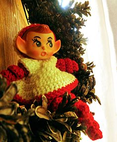 vintage elf in crocheted dress from our own vintage collection