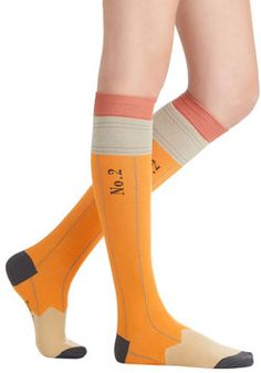 Got My Number Two Socks. Arrive for your fashion exam extra-prepared in these yellow pencil socks! #yellow #modcloth