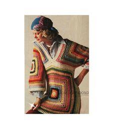 Crochet Bodycon Dresses, Black Crochet Dress, Crochet Blouse, Crochet Shawl, Vintage Dress Patterns, Vintage Dresses, Granny Square Sweater, Crochet Poncho Patterns, Blouse Patterns