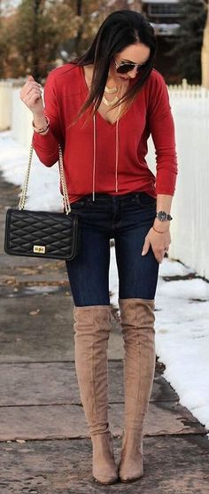 Red Knit + Navy Skinny Jeans + Brown OTK Boots