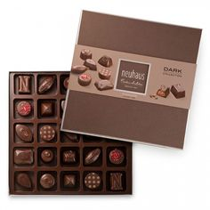 The Neuhaus Dark Collection offers a true impression of the luxury of the Neuhaus brand. A selection of 25 timeless Neuhaus dark chocolates filled with pralinés, ganaches, caramels, in a contemporary, colourful and luxurious gift packaging.