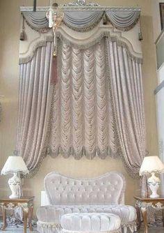 Living room modern classic window treatments 46 ideas for 2019 – Curtains 2020 Classic Curtains, Modern Curtains, Curtains With Blinds, Valances, Cornices, Cornice Design, Drapery Designs, Window Design, Window Coverings