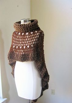 BROWN BOHEMIAN PONCHO Crochet Knit Cape Shawl by marianavail