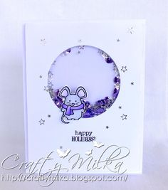 Happy Holidays Mouse Violet Shaker Card #janesdoodles