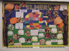 Lovely Elmer display from Reception Class Class Displays, School Displays, Classroom Displays, Retelling Activities, Craft Activities, Elmer The Elephants, Reading Display, Reception Class, Teaching Colors