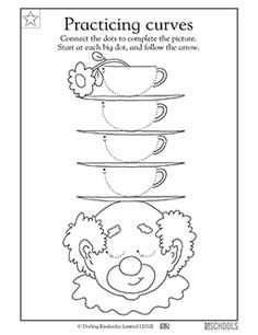 What's on this clown's head? In this coloring worksheet, your child gets practice tracing and drawing fluid lines to complete the picture.