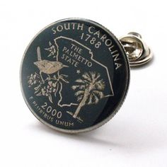 South Carolina Tie Tack Lapel Pin Suit Flag State Coin Jewelry