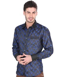 34757 Camisa Vaquera Caballero El General, 80% Polyester 20% Cotton - Royal Blue