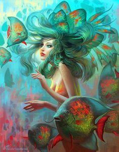 Pintura Digital e Fantasy Art com Viktoria Gavrilenko (Viccolatte) - Tutoriart Fantasy, Illustration, Fantasy Art, Mermaid, Mythical Creatures, Painting, Art, Mermaid Art, Beautiful Art