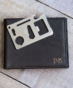 Look at this #zulilyfind! Black Leather Personalized Wallet & Multifunction Tool #zulilyfinds