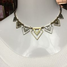 """Lucky Brand Two-Toned Leather Triangle Necklace BRAND NEW, no tags LUCKY BRAND Two- Toned Leather Geo Triangle Necklace- 18"""" with Extender- RETAIL $75 Lucky Brand Jewelry Necklaces"""