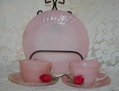 Fire King Pink Swirl Plate and 2 Cups and Saucers, FREE US SHIPPING, Limited Time by UdellLane on Etsy