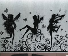 Fairies 5 - uBer Decals Wall Decal Vinyl Decor Art Sticker Removable Mural Modern A420 - The Challenge would be to turn this into a Cross Stitch Pattern
